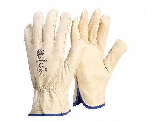 leather rigger gloves - beige