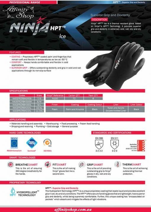 ninja ice winter gloves hpt p4004 product datasheet