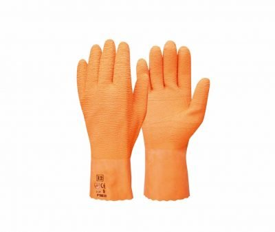 orange ruffy safety gloves