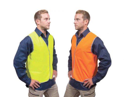 Work Vest Hi Vis Safety Fluro Yellow Orange Force360 CWRX