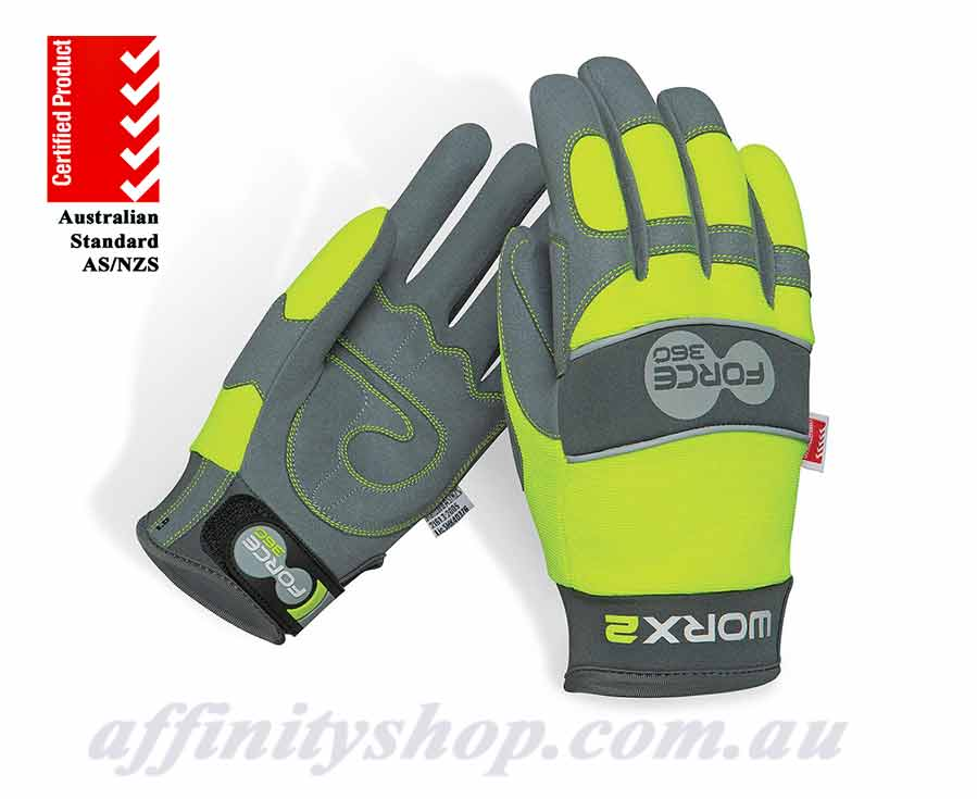 worx2 hi vis mechanics force360 work gloves gworx2