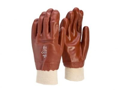 Red PVC Knit Gloves Single Dipped Frontier Safety P202A