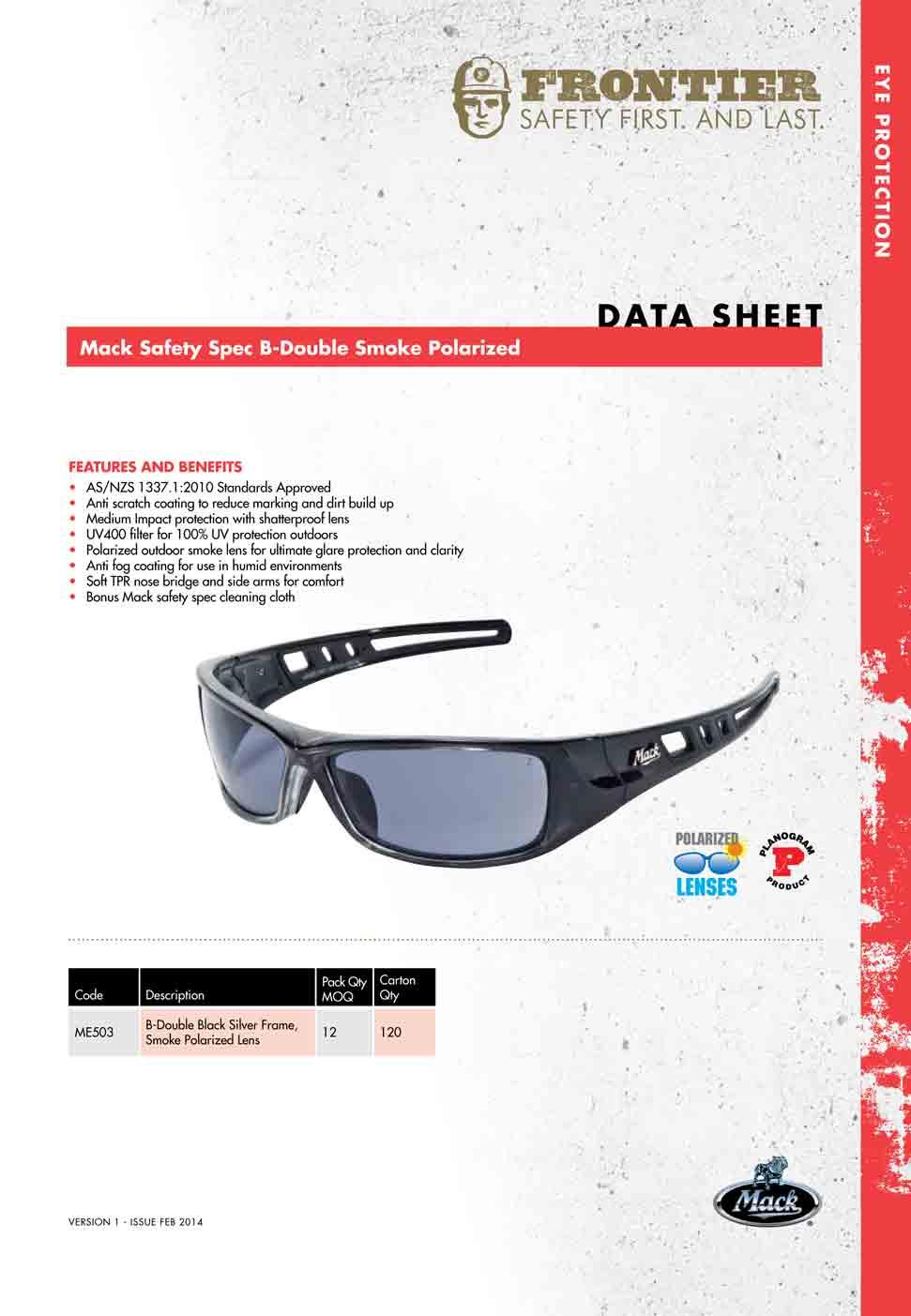 mack b double polarised safety glasses me503
