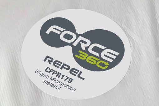 force360 disposable coveralls label