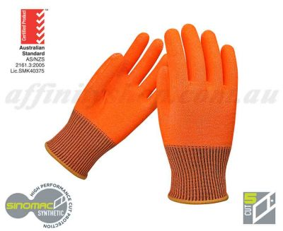 cut 5 glove force360 cut rated work gloves food grade fpr207 fluro orange