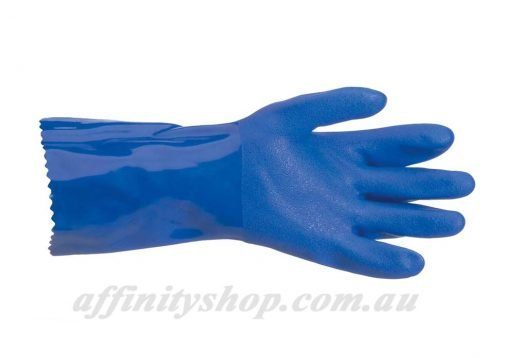 pro val trojan blue pvc chemical gloves 41560