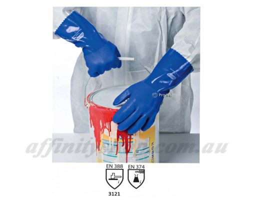 pro val trojan gloves blue pvc chemcial protection
