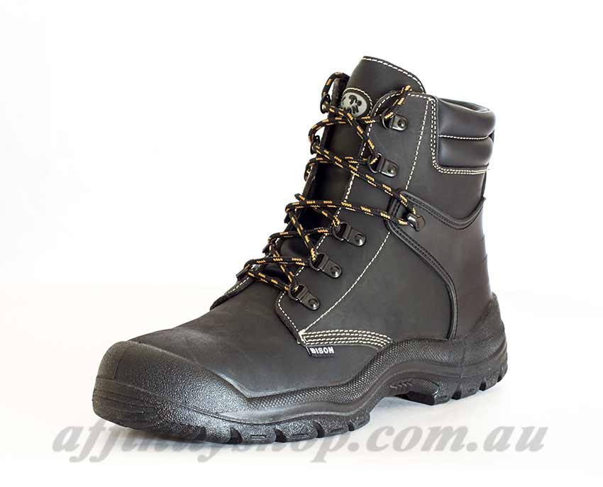 work boots bison wolf leather lace up ankle high safety boot