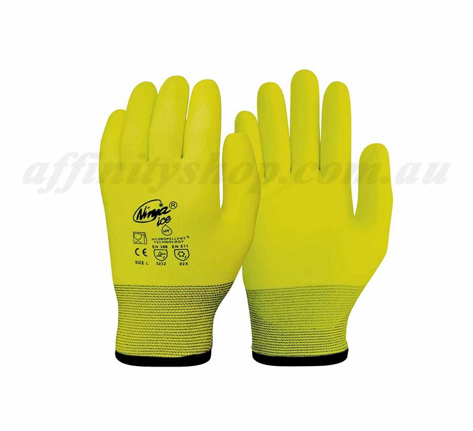 ninja ice hi vis gloves fluro yellow winter p4004hv