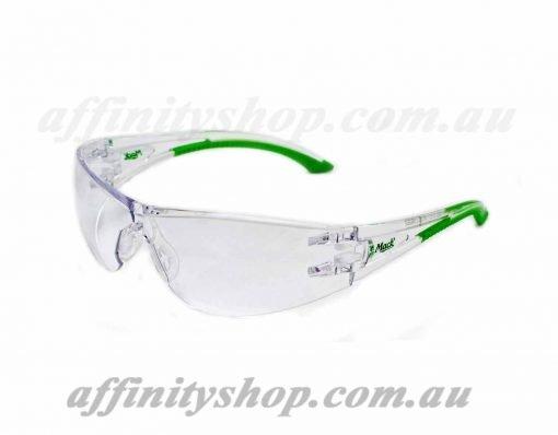 vx2 safety specs clear lens green mack mevx2c