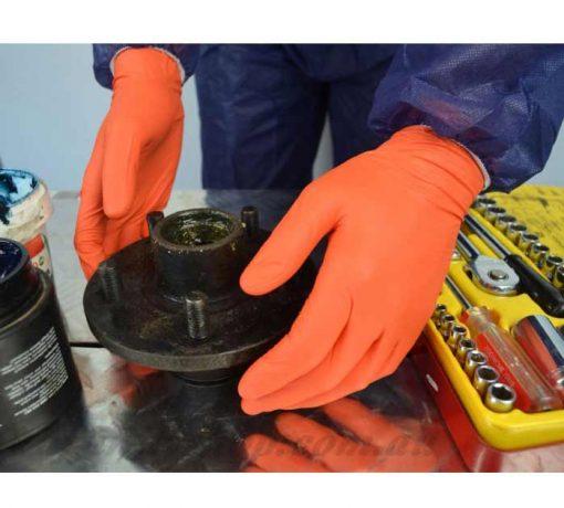 orange nitrile disposable gloves proval 41137 pf glove