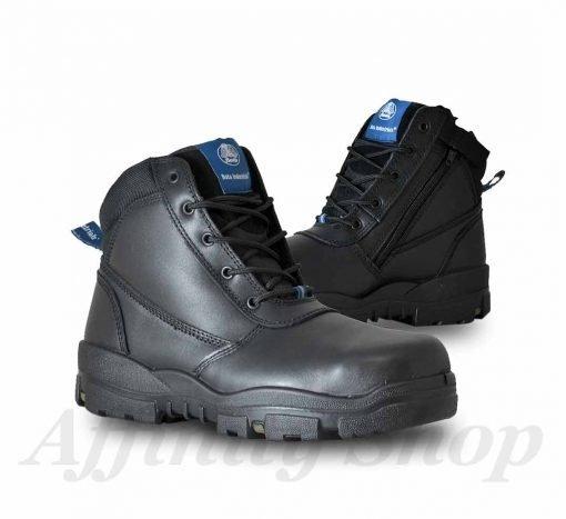 bata horizon work boots black leather zip footwear