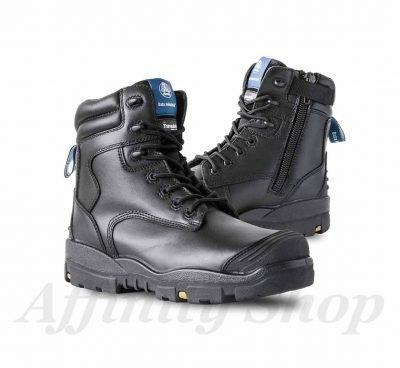 bata longreach zip work boots black leather safety footwear