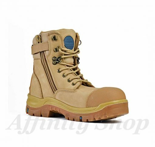 bata patriot zip work boots wheat leather safety footwear