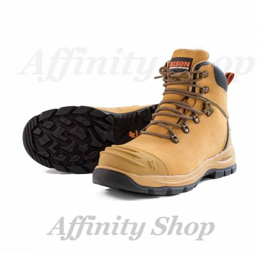 bison xt zip work boots wheat leather safety footwear XTLZ-101