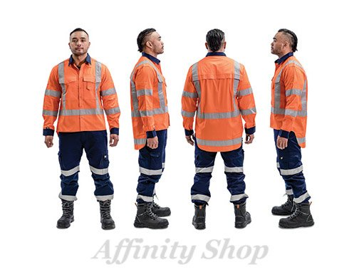 twz work shirt orange navy with reflective tape stbcolw-ora