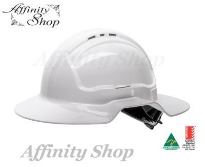 wide brim hard hat with ratchet mechanism