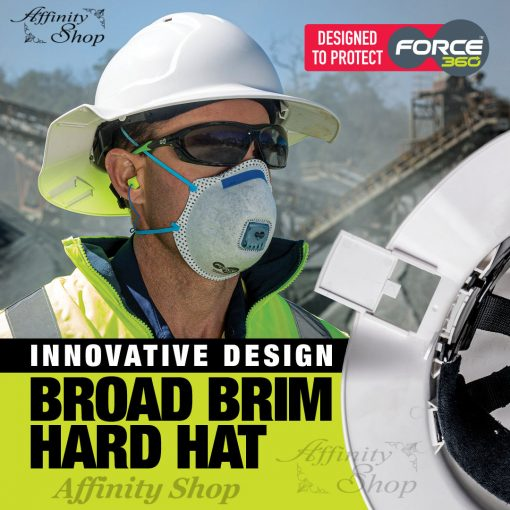 wide brim hard hat with ratchet mechanism broad brim