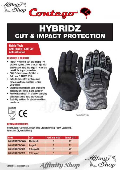 contego hybridz cut rated work gloves