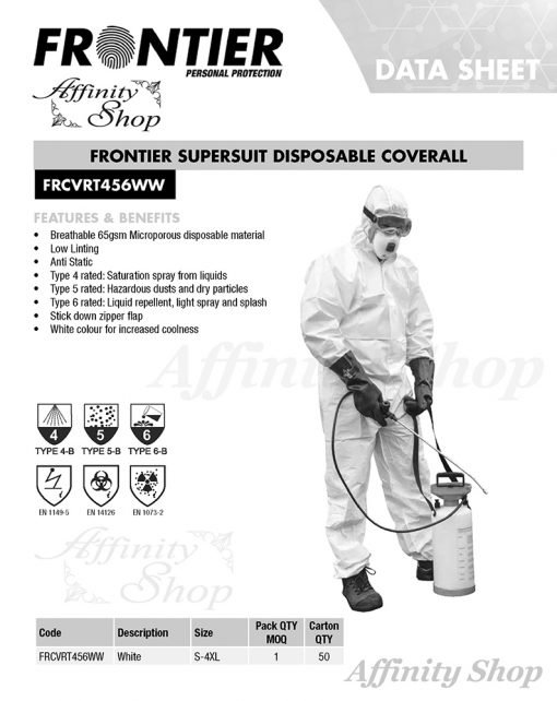 frontier diposable coverall supersuit type 456