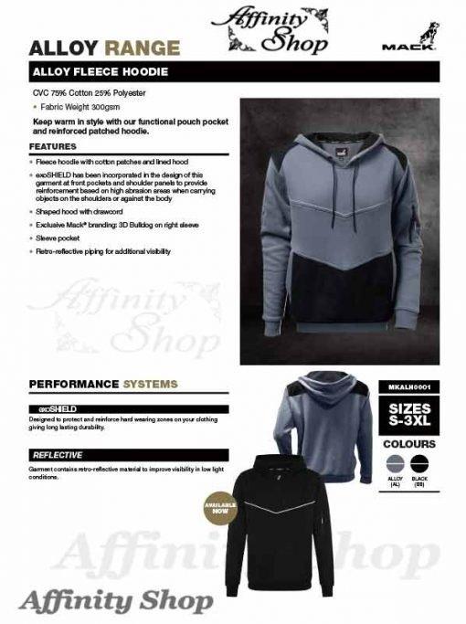 mack alloy fleece hoodie datasheet