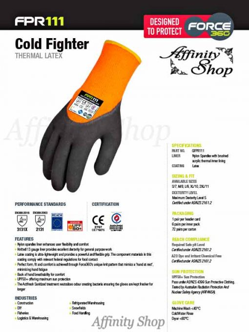 force360 cold fighter latex gloves gfpr111