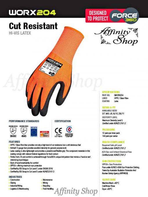 force360 cut 5 latex gloves worx204